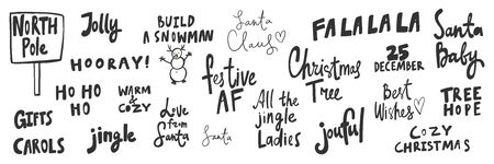 Noel, jolly, ho ho ho, jingle, festive, joyful, hope, tree, lady, December. Merry Christmas and Happy New Year. Season Winter Vector hand drawn illustration sticker collection with cartoon lettering. Illusztráció