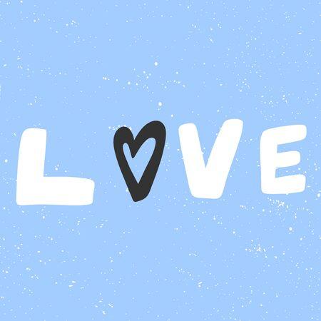 Love. Merry Christmas and Happy New Year. Season Winter Vector hand drawn illustration sticker with cartoon lettering. Illusztráció
