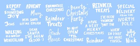 Reindeer, party, treets, jolly, Jesus, special, delivery, repeat, good. Merry Christmas and Happy New Year. Season Winter Vector hand drawn illustration sticker collection with cartoon lettering.