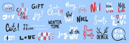 Gift, cute, love, Noel, dear, Santa, winter, joy, candy, oh deer. Merry Christmas and Happy New Year. Season Winter Vector hand drawn illustration sticker collection with cartoon lettering.
