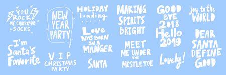 Party, Santa, love, dear, good, hello, joy, world, holiday, rock, socks. Merry Christmas and Happy New Year. Season Winter Vector hand drawn illustration sticker collection with cartoon lettering.