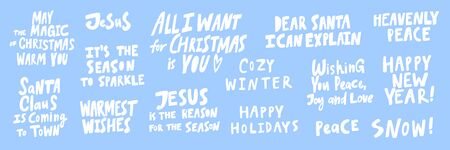 Jesus, cozy, winter, snow, peace, Santa, all, I want, you, wishes, season. Merry Christmas and Happy New Year. Season Winter Vector hand drawn illustration sticker collection with cartoon lettering.
