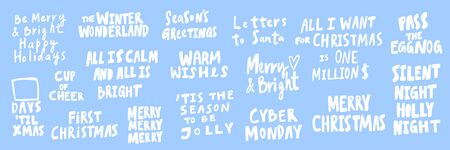 All, I, want, cyber, Monday, Xmas, Night, silent, wishes, bright, holiday. Merry Christmas and Happy New Year. Season Winter Vector hand drawn illustration sticker collection with cartoon lettering. Illustration