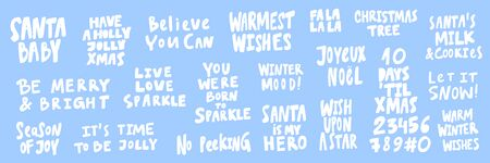 Santa, baby, believe, can, head, joy, days, until, Xmas, milk, cookies. Merry Christmas and Happy New Year. Season Winter Vector hand drawn illustration sticker collection with cartoon lettering.