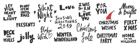 Present, jolly, season, first, xmas, love, winter, wonderland, sale, party.Merry Christmas and Happy New Year. Season Winter Vector hand drawn illustration sticker collection with cartoon lettering.