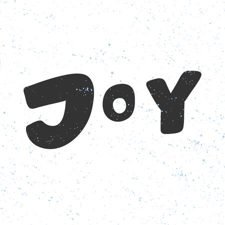 Joy. Merry Christmas and Happy New Year. Season Winter Vector hand drawn illustration sticker with cartoon lettering.