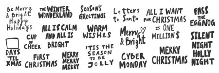 All, I, want, cyber, Monday, Xmas, Night, silent, wishes, bright, holiday. Merry Christmas and Happy New Year. Season Winter Vector hand drawn illustration sticker collection with cartoon lettering. Ilustração
