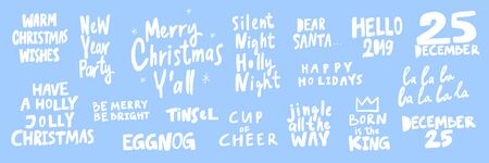 Party, warm, cozy, jolly, cheer, cup, eggnog, 25, December, Santa, king. Merry Christmas and Happy New Year. Season Winter Vector hand drawn illustration sticker collection with cartoon lettering.