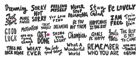 Dreaming, champion, remember, get, done, you, just, start, free, wish. Vector hand drawn illustration collection set with cartoon lettering.