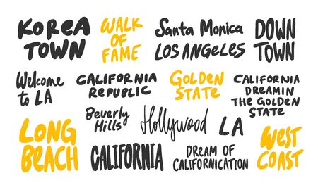 Korea, town, LA, Los Angeles, Hollywood, west, coast, Long, Beach, Golden, State, California, republic, Beverly, Hills. Vector hand drawn illustration collection set with cartoon lettering.