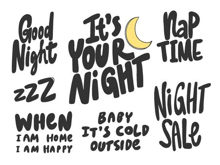 Night, good, sleep, sale, nap, cold, outside. Vector hand drawn illustration collection set with cartoon lettering. Illustration