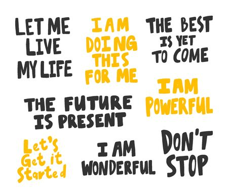 Let, live, life, present, future, stop, wonderful, doing, best, come, start, powerful. Vector hand drawn illustration collection set with cartoon lettering. Illustration