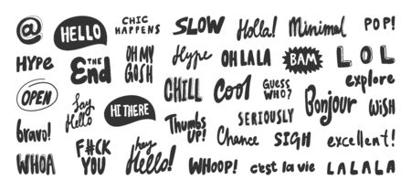 Hello, slow, la la, minimal, gosh, whoop, whoa, excellent, lol, bravo, hi, say, chill, bam. Vector hand drawn illustration collection set with cartoon lettering.