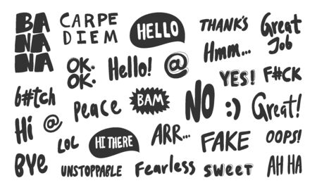 Banana, hello, no, fake, great, oops, hi, peace, thanks, bye, lol, sweet, ha ha, ok, yes. Vector hand drawn illustration collection set with cartoon lettering.