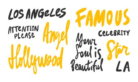 Famous, Los Angeles, Angel, Soul, Beautiful, LA, Star, Hollywood, Celebrity. Vector hand drawn illustration collection set with cartoon lettering.