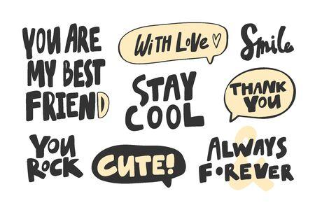 Meilleur, ami, rock, toi, reste, cool, toujours, pour toujours, merci, toi, souris, avec, amour. Collection d'illustrations vectorielles dessinées à la main avec lettrage de dessin animé.