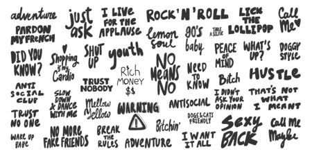 No, applause, trust, know, just, ask, sexy, need, know, call, me, friends, youth. Vector hand drawn illustration collection set with cartoon lettering. 일러스트