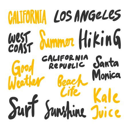 California, Los Angeles, West, coast, Summer, Hiking, Surf, Sunshine, kale, juice, Santa, Monica. Vector hand drawn illustration collection set with cartoon lettering. Illustration