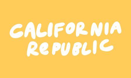California republic. Sticker for social media content. Vector hand drawn illustration design.