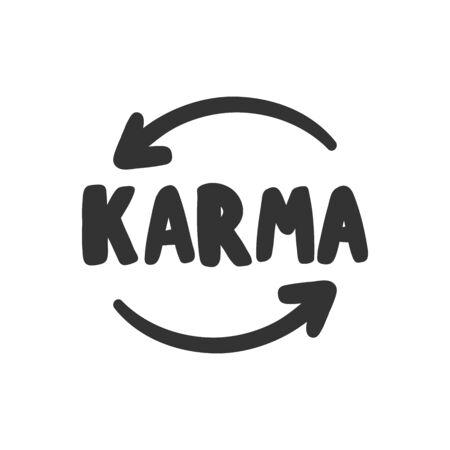 Karma. Sticker for social media content. Vector hand drawn illustration design.
