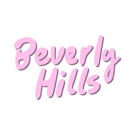 Beverly Hills. Sticker for social media content. Vector hand drawn illustration design. Illustration