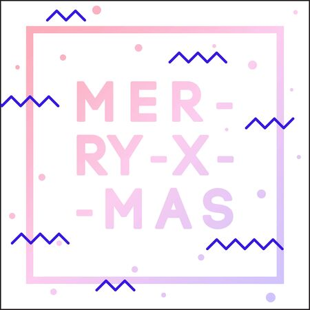 Merry Xmas greeting card. Vector hand drawn illustration with cartoon lettering.