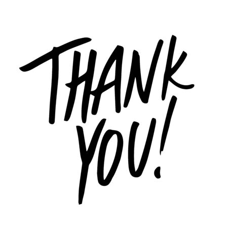 Thank you. Vector hand drawn collection set illustration with cartoon lettering.