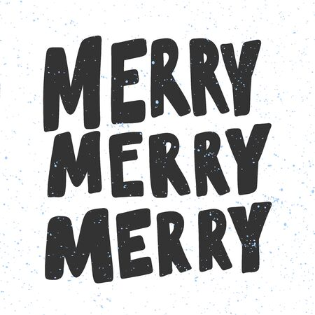 Merry. Christmas and happy New Year vector hand drawn illustration banner with cartoon comic lettering. 向量圖像
