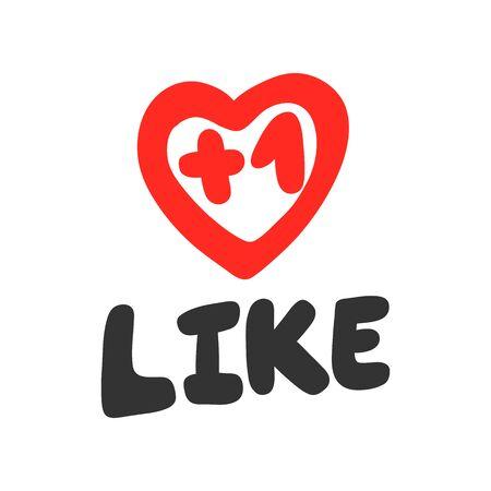 Like. Sticker for social media content. Vector hand drawn illustration design. Illustration