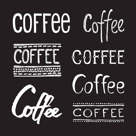 Coffee collection lettering set. Vector hand drawn illustration with cartoon lettering. Illustration