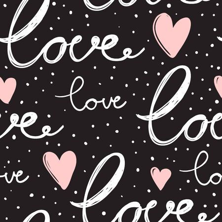 Love seamless hand drawn calligraphic vector pattern. Vector hand drawn illustration with cartoon lettering.