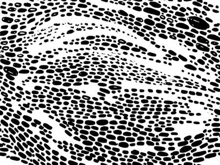 Vector hand drawn animal print design. Calligraphic brush stroke monochrome pattern. Black and white style.