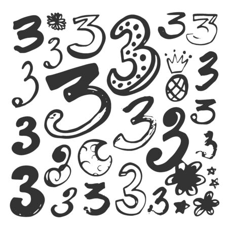 Abstract hand drawn numbers. Isolated vector sign symbol. Design element. Typography poster. Symbol set. Vector collection. Vector text. Vector illustration