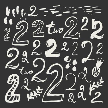 Abstract hand drawn numbers. Isolated vector sign symbol. Design element. Typography poster. Symbol set. Vector collection. Vector text. 일러스트