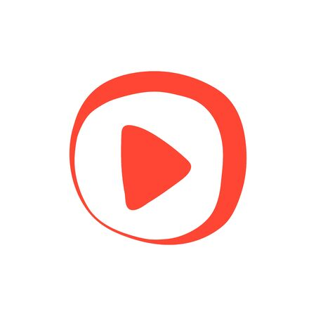 Red Hand drawn Button with video button icon.