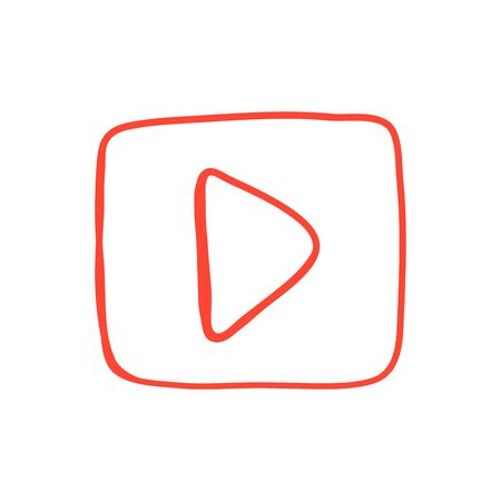 Red Hand drawn Button with video button icon. Vector Illustration