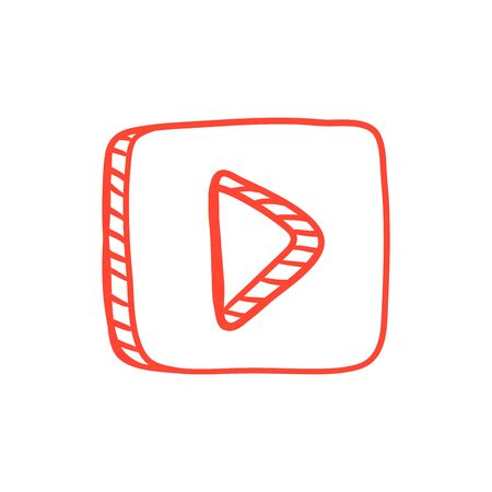 Button with video button icon. Vector illustration