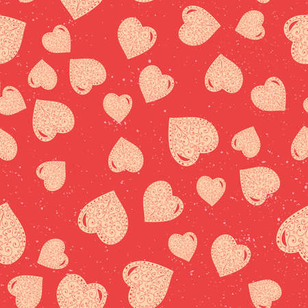 Vector heart seamless pattern for wedding, birthday or valentines day. Good for wrapping, poster, background. Иллюстрация