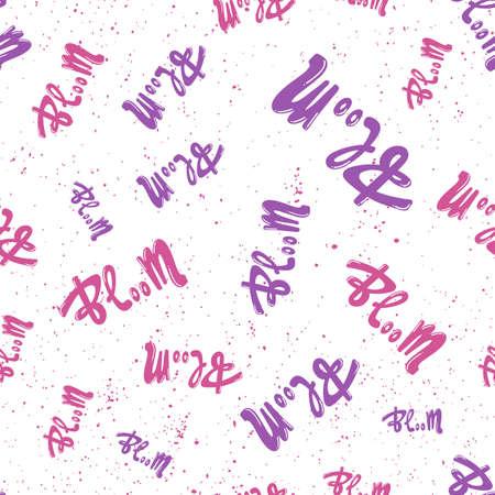 Bloom. Retro pattern for print design. Cartoon vector illustration. Romantic seamless texture design. Hand drawn calligraphy lettering vector illustration. Stock Illustratie