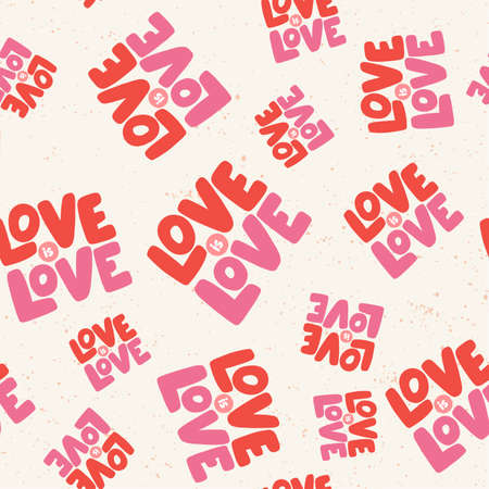Love is love. Retro pattern for print design. Cartoon vector illustration. Romantic seamless texture design. Hand drawn calligraphy lettering vector illustration.
