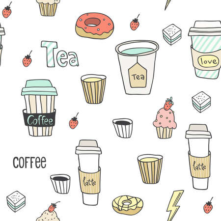 Abstract seamless pattern with hand drawn coffee to go cups. Beautiful modern texture with chaotic painted elements. Multicolored background for your web design, backdrops, wrapping Vettoriali