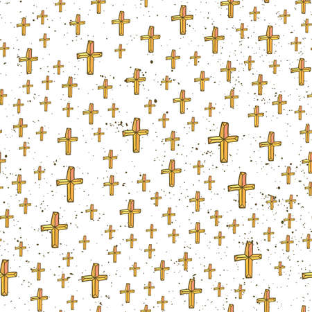 Abstract seamless pattern with religion cross christian hand drawn sign. Beautiful modern texture. Multicolored background for your design, backdrops, wallpaper, wrapping Stock Illustratie