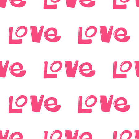 Love. Vector seamless pattern with calligraphy hand drawn text. Good for wrapping paper, wedding card, birthday invitation, pattern fill, wallpaper