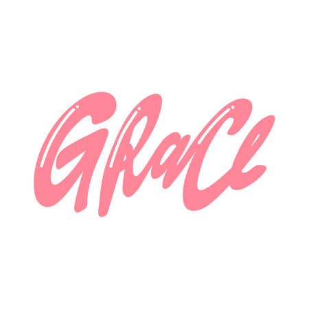 Grace. Handwritten Inscription on a white background. Cute greeting card, sticker or print made in the style of lettering and calligraphy. Vector Illustration