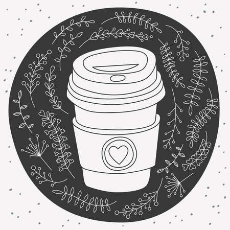 Vector hand drawn paper coffee to go cup with heart symbol on holder. Black round shape with dots. Illustration of flowers, berries, twigs. Çizim