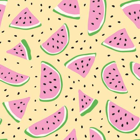 Watermelon seamless. Organic fruit. Vector sketch illustration. Vegetarian healthy food. Vettoriali