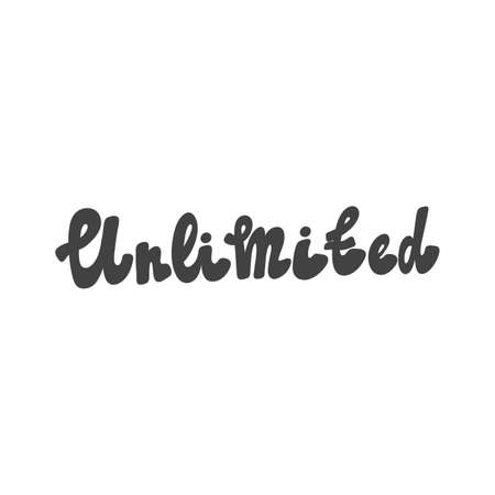 Unlimited. Hand drawn lettering logo for social media content 向量圖像