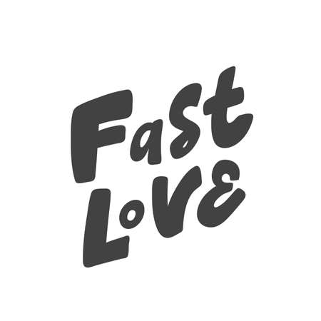Fast love. Hand drawn lettering logo for social media content