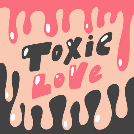 Toxic Love. Hand drawn lettering logo for social media content