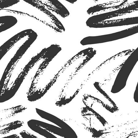 Monochrome Seamless Pattern for fabric design. Water splash paint splatter. Background texture old fabric. Ink paint Line vector. Vetores